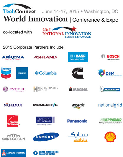 TCW 2015 Corporate Partners: Arkema, Ashland, BASF, Bosch, Chevron, Corning, Columbia, Cummins, DSM, Evonik, Harris and Harris, Magna, Michelin, Michelman, Momentive, Mosaic, National Grid, Owens Corning, Oxford Instruments, Praxair, Saint-Gobain, Samsung, Sabic, Shell, Sherwin-Williams, United Technologies Research Center