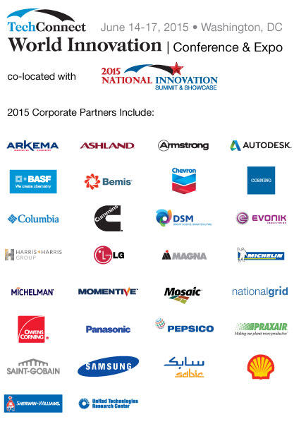 TCW 2015 Corporate Partners: Arkema, Ashland, Armstrong, BASF, Bemis, Chevron, Corning, Columbia, Cummins, DSM, Evonik, Harris and Harris, LG        Magna, Michelin, Michelman, Momentive, Mosaic, National Grid, Owens Corning, Panasonic, Pepsico, Praxair,  Saint-Gobain, Samsung, Sabic, Shell,        Sherwin-Williams, United Technologies Research Center